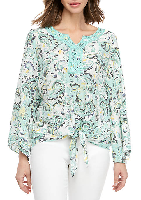 New Directions® 3/4 Sleeve Tie Front Top With