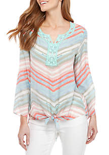 New Directions® 3/4 Sleeve Tie Front Top With Crochet Yoke