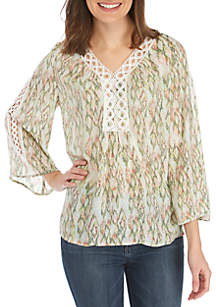 New Directions® 3/4 Sleeve Crochet Inset Top