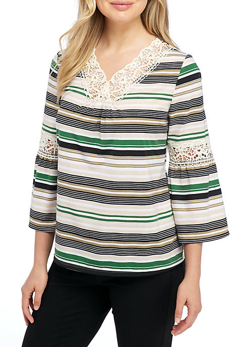 New Directions® Three-Quarter Sleeve Crochet Inset Striped Knit