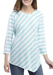 3/4 Sleeve Crochet Stripe Asymmetrical Hem Top