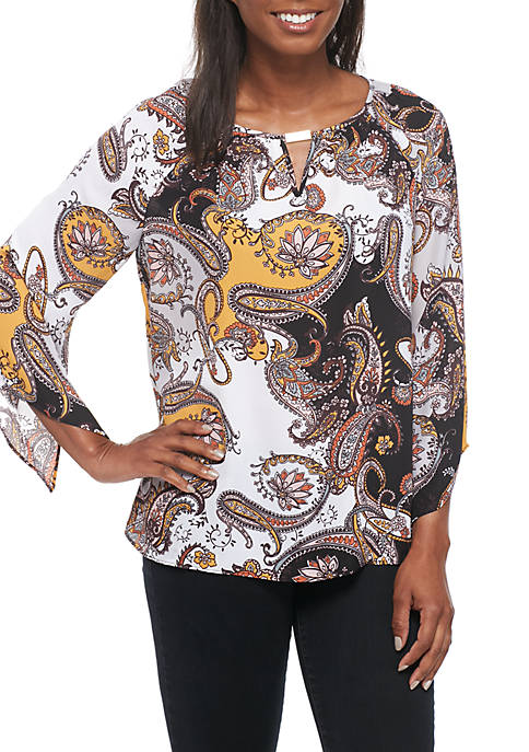 New Directions® 3/4 Sleeve Hardware Neck Multi-Print Blouse