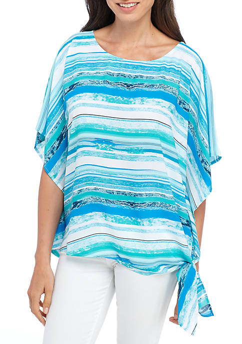 New Directions® Short Sleeve Side Tie Watercolor Stripe