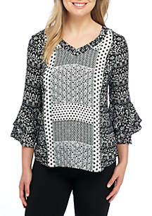 Three-Quarter Double Bell Sleeves Placed Print Top