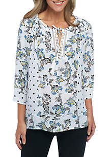 Three-Quarter Sleeve Mixed Print Woven Top