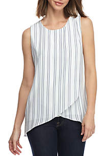 New Directions® Sleeveless Cross Front Print Woven Tank