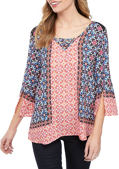 3/4 Sleeve Faux Lace Up with Crochet Inset Top