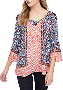 New Directions® 3/4 Sleeve Faux Lace Up with Crochet Inset Top