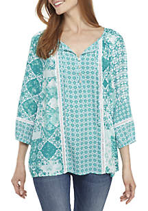New Directions® 3/4 Sleeve Print Top