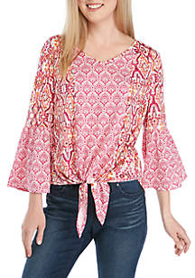 New Directions® 3/4 Bell Sleeve Print Tie Front Top