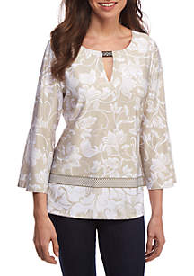 Three-Quarter Bell Sleeve Border Print Top