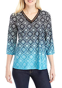 3/4 Sleeve Printed Knit Top with Crochet Trim