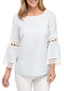 d27b353fef6d ... New Directions® 3 4 Bell Sleeve Yarn Dye Stripe Crochet Inset Top