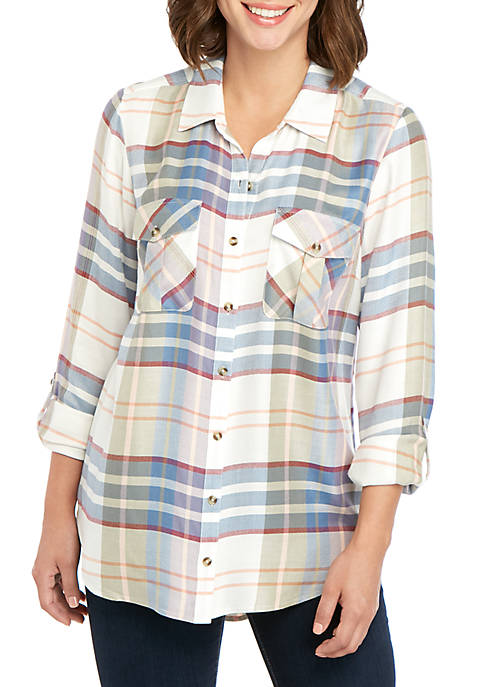 New Directions® Roll Tab Plaid Camp Shirt