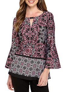 Border Print Knit Top with Hardware