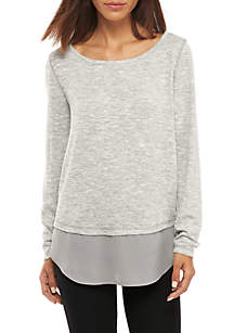 Long Sleeve Hacci 2Fer WIth Faux Lace-Up Back
