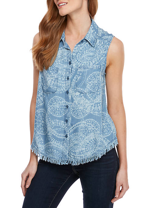 Sleeveless Button Front Printed Top
