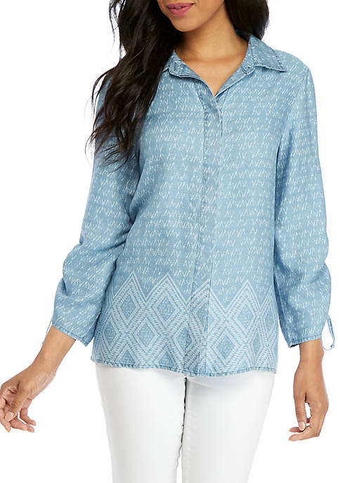 Button Front Tencel Top with Cinched Sleeves