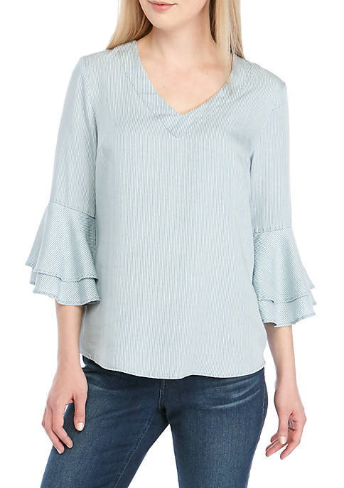 New Directions® 3/4 Bell Sleeve Stripe Tencel Top