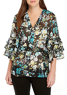 New Directions® Bell Sleeve Button Front Print Top with Tie Waist