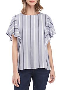 New Directions® Short Flutter Sleeve Textured Stripe Top