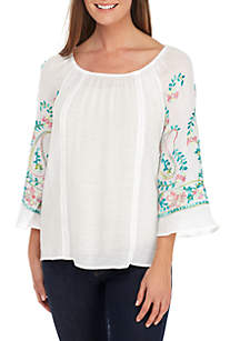 New Directions® Embroidered 3/4 Sleeve Linen Slub Top