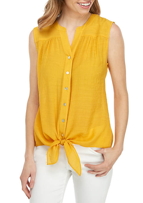 New Directions® Sleeveless Tie Front Linen Top