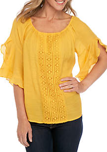 New Directions® White Elbow Sleeve Ruffle Top with Crochet Yoke