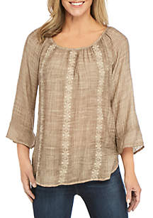 New Directions® 3/4 Sleeve Embroidered Washed Linen Slub Top