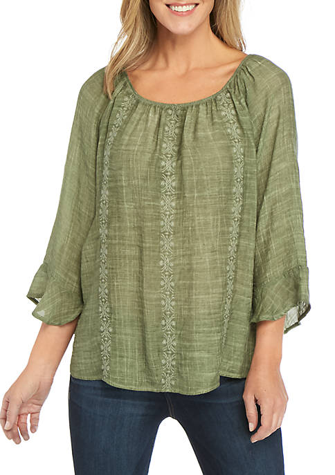 New Directions® 3/4 Sleeve Embroidered Washed Linen Slub