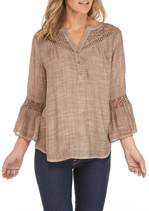 New Directions® 3/4 Sleeve Crochet Yoke Top