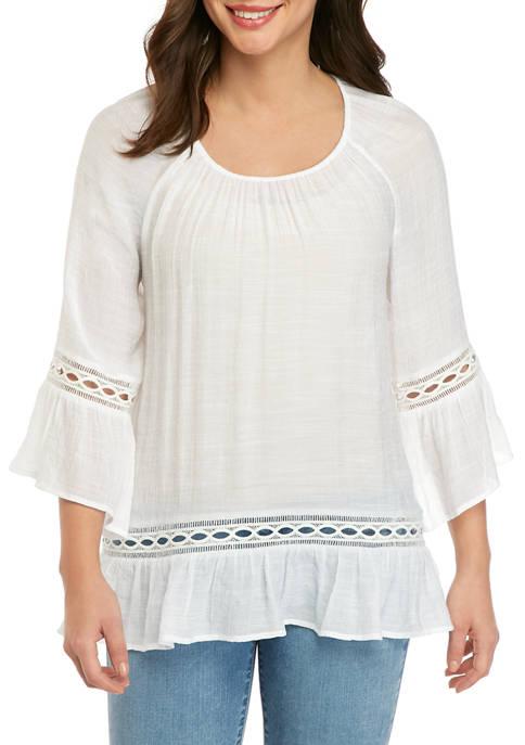 Womens 3/4 Sleeve Crochet Hem Linen Slub Top