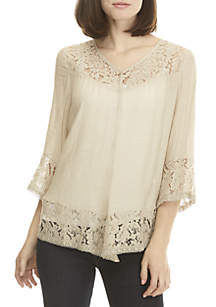 New Directions® Button Front Top with Lace Hem