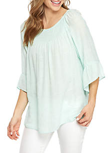 New Directions® 3/4 Bell Sleeve Smocked Neck Top