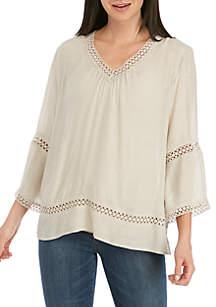 New Directions® 3/4 Sleeve V-Neck Crochet Inset Linen Top