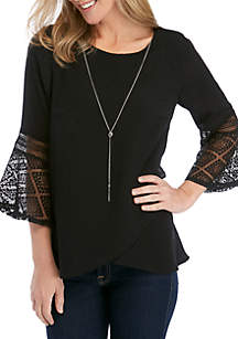 New Directions® 3/4 Sleeve Cross Front Double Bell Sleeve Top with Necklace