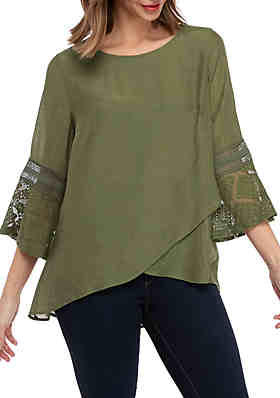 2090a08caf22fb New Directions® 3/4 Bell Sleeve Linen Slub Cross Front Top ...