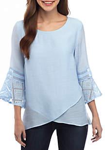 New Directions® 3/4 Bell Sleeve Linen Slub Cross Front Top