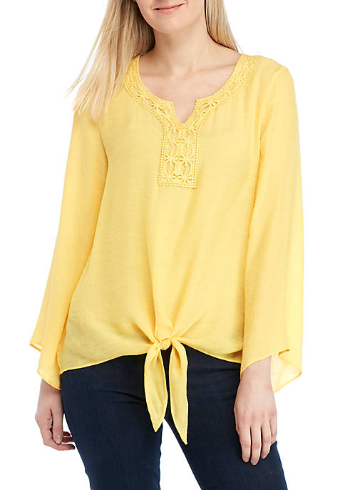 New Directions® Long Sleeve Tie Front Top with