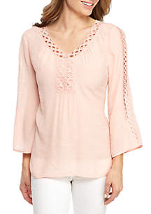 New Directions® 3/4 Sleeve Crochet Neck Top