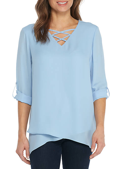 New Directions® 3/4 Rolled Tab Cross Front Tunic