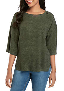 New Directions® Elbow Sleeve Button Hacci Knit Top