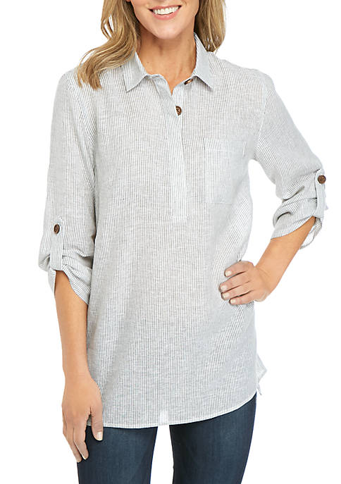 New Directions® 3/4 Sleeve Small Stripe Top