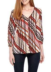 Long Sleeve Mixed Stripe V-Neck Top