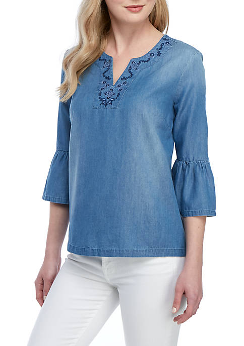 New Directions® 3/4 Bell Sleeve Tencel Embroidered Neck