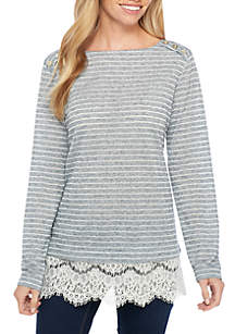 3/4 Sleeve Lace 2Fer