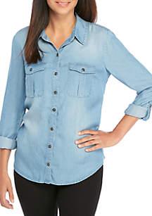 New Directions® Petite Roll Sleeve Woven Boyfriend Shirt