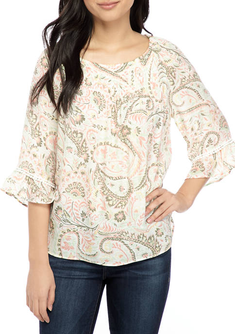 New Directions® Petite Smocked Linen Blouse