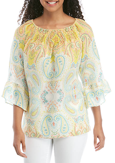 New Directions® Petite Smocked Off the Shoulder Top