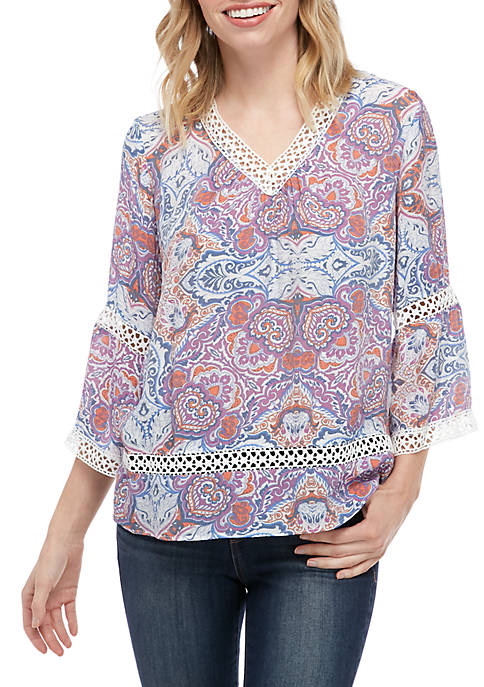 New Directions® Petite Crochet Inset V-Neck Popover Top